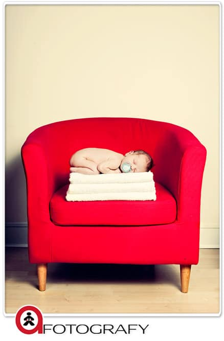 baby portrait photography photographers edinburgh UK glasgow red chair