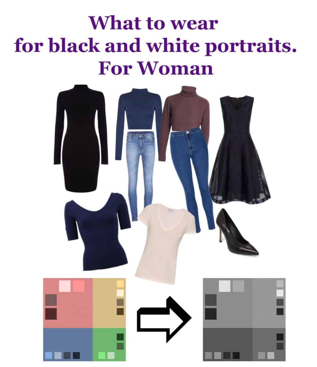 What to wear for black and white portraits woman