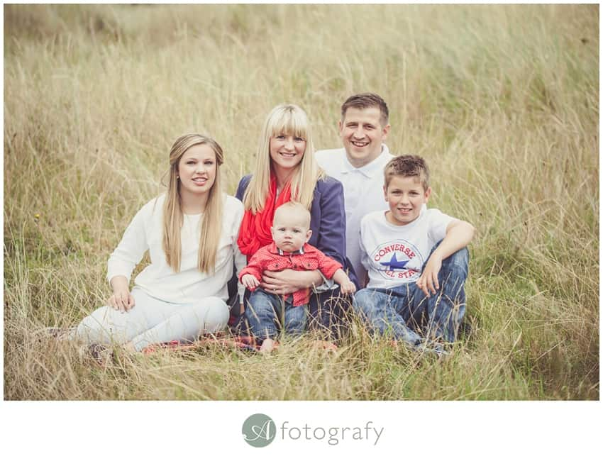 Outdoor family photography session on Gullane beach