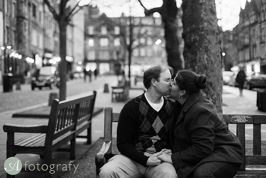 Edinburgh old city engagement portrait photography