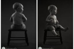 Classic black and white baby portrait photography with Lucas 1