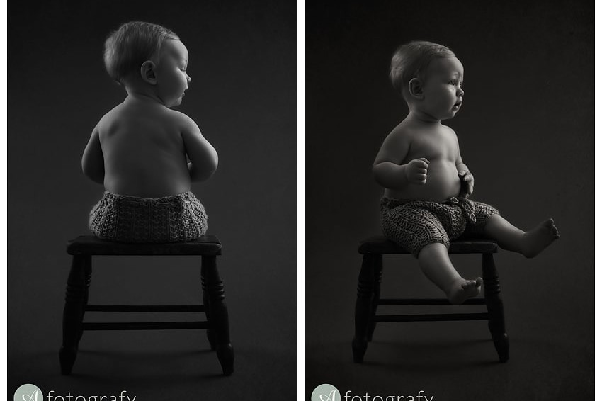 Classic black and white baby portrait photography with Lucas 3