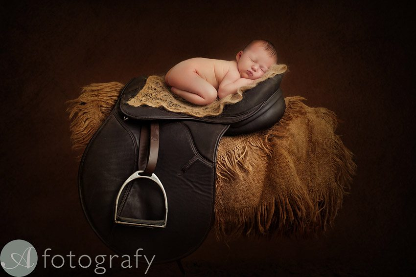 Midlothian newborn photography with baby on the horse sadde