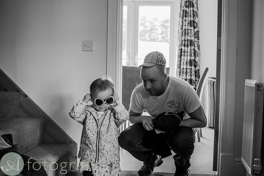 dad and baby girl dressing up for a photo session