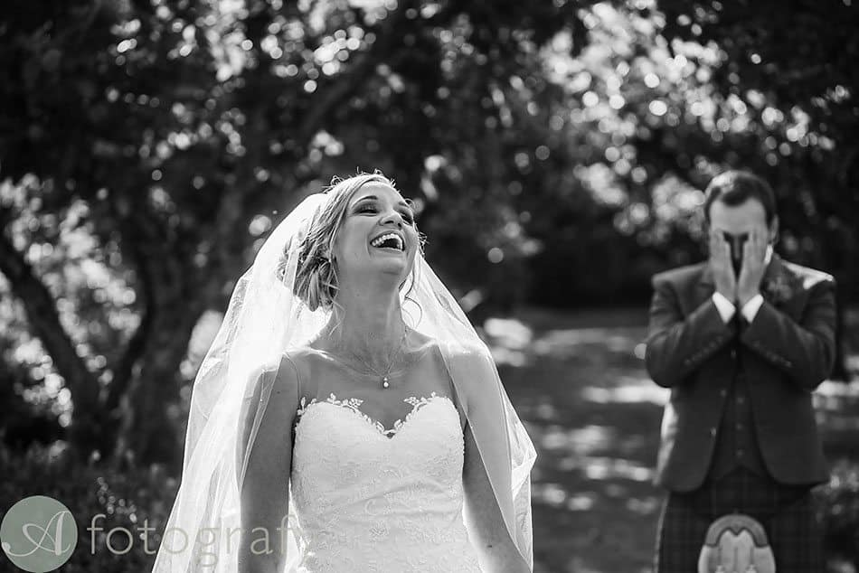 The Byre at Inchyra wedding couple laughs