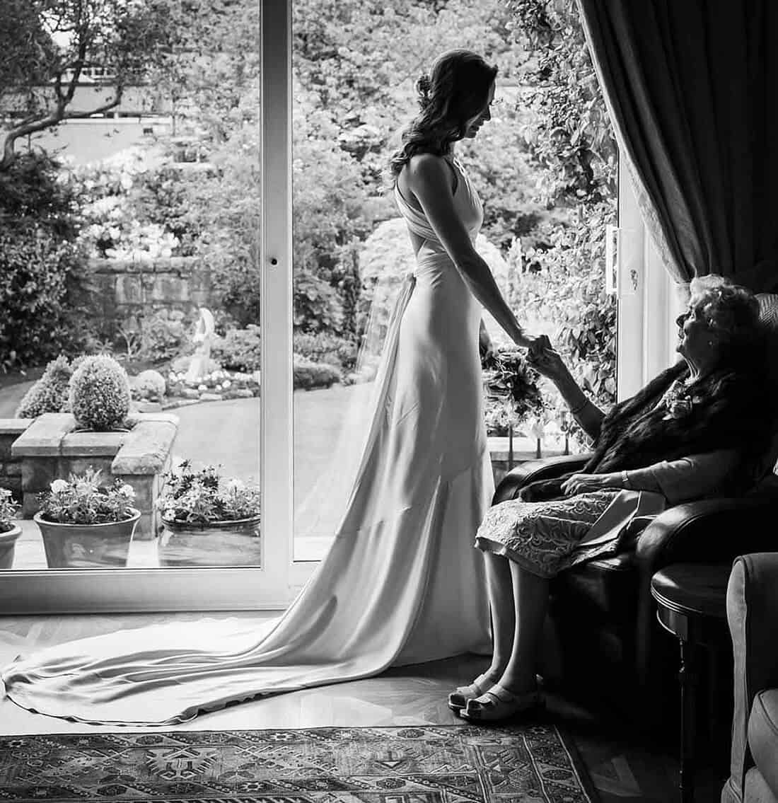 bride with her grandmother emotional moment