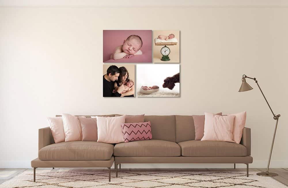 Plan how you will display newborn photos on your walls.