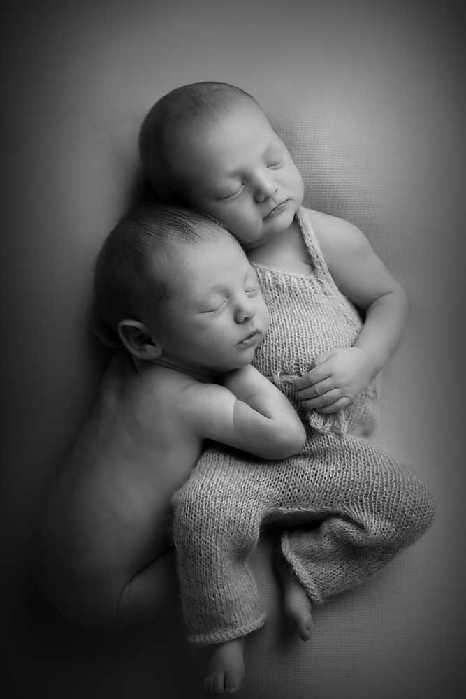 newborn twins during photography photo shoot in Edinburgh