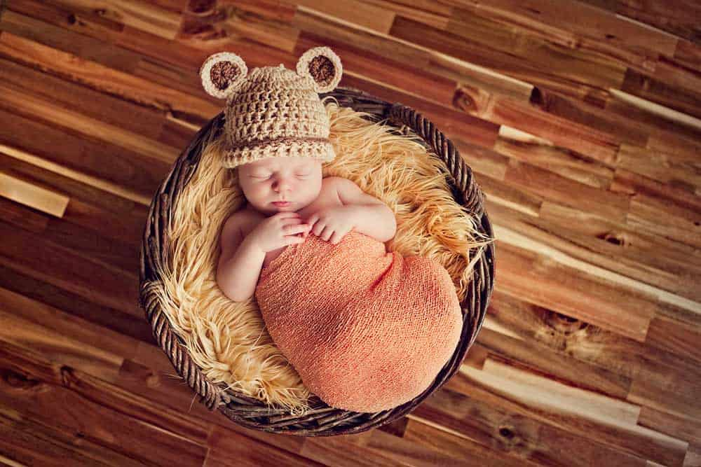 newborn baby in basket wearing bear hat