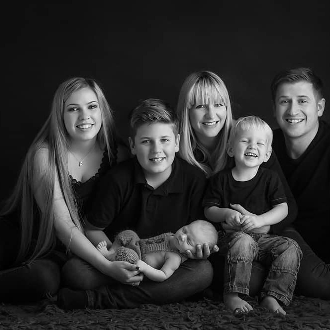 classic newborn black and white family photography