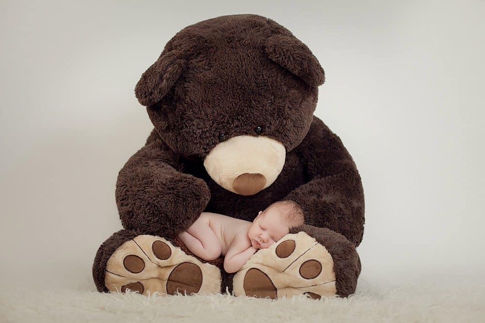 Large toy bear holding newborn during photo session in Edinburgh