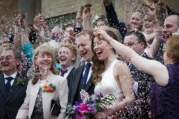 confetti with wedding party