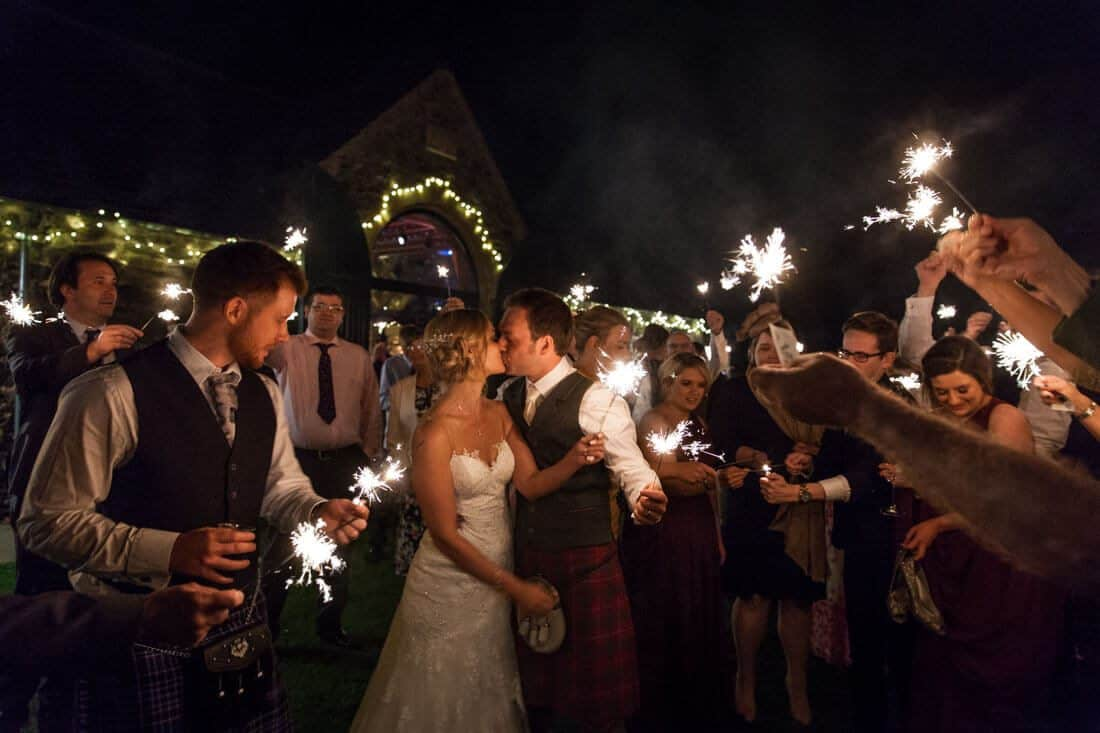 scottish wedding photography with sparklers