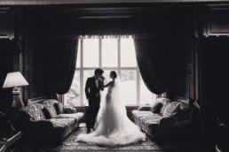 Dalhousie castle wedding photography with wedding couple