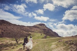 Edinburgh arthur's seat wedding photography photo with wedding couple