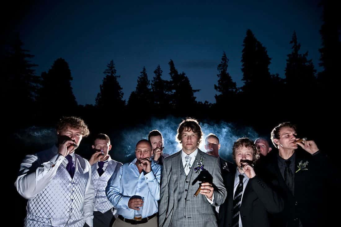 wedding photography ideas with smoking cigars