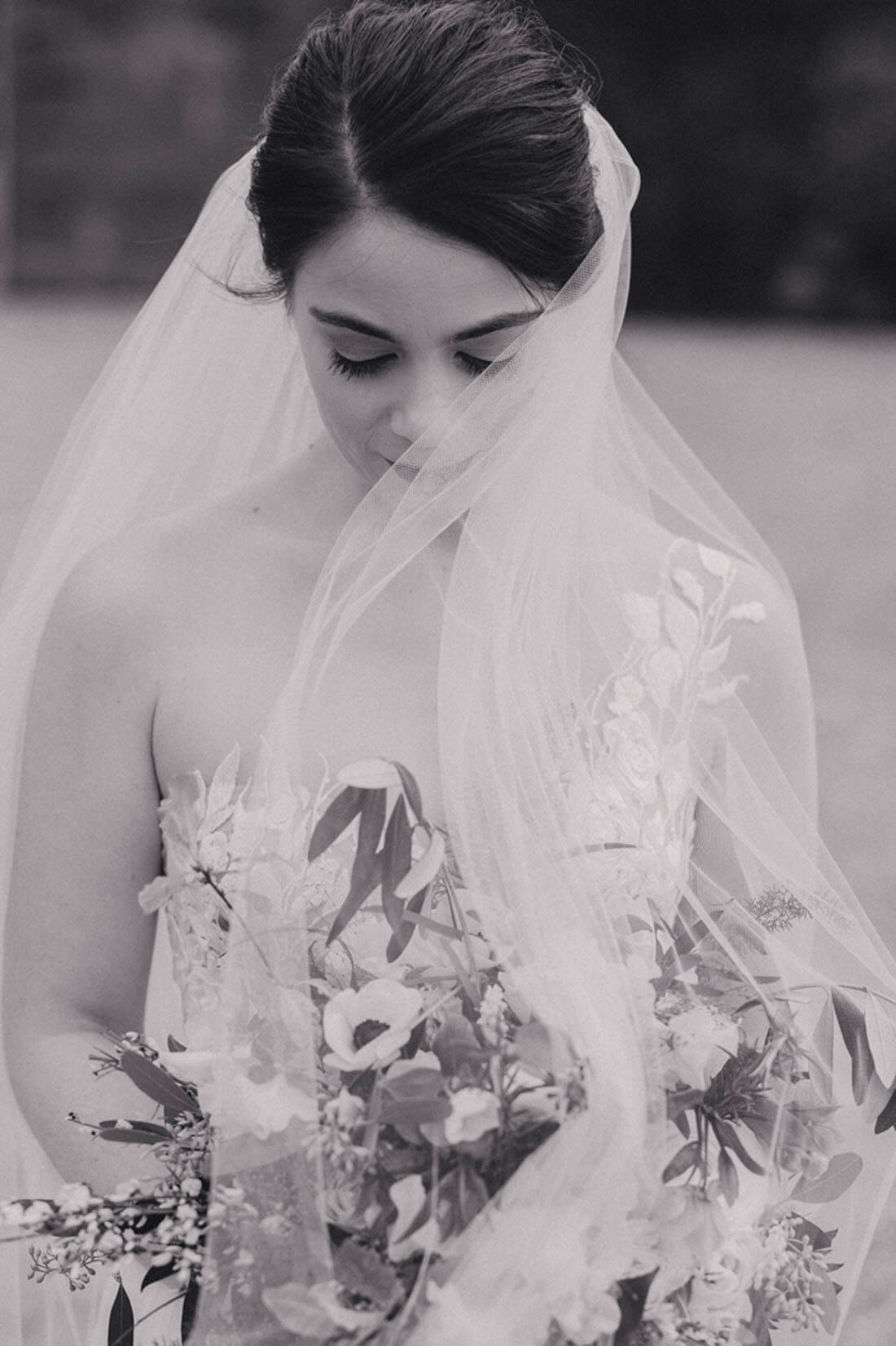 beautiful wedding bride portrait with veil in wind