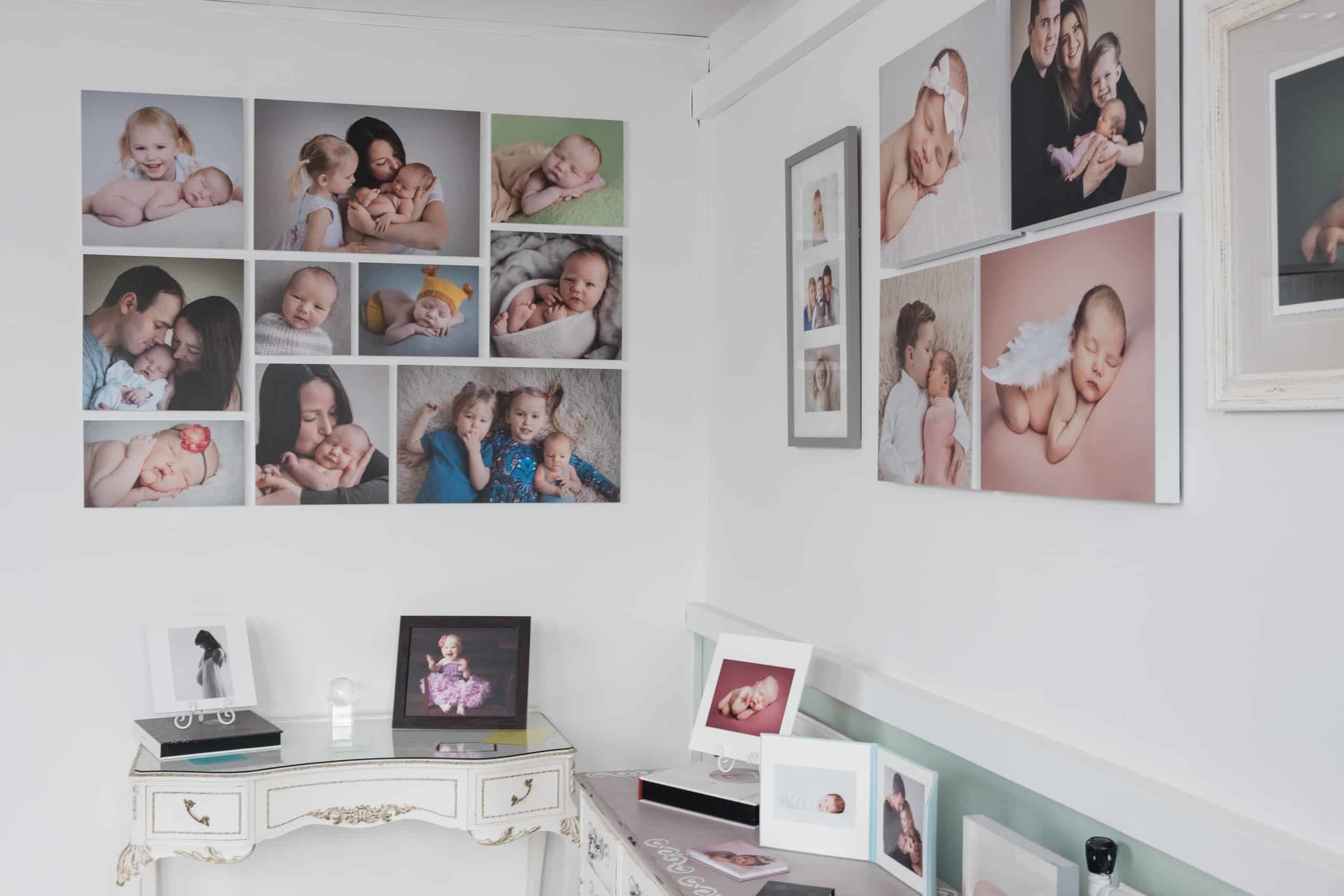 Wall display products on photography studio walls