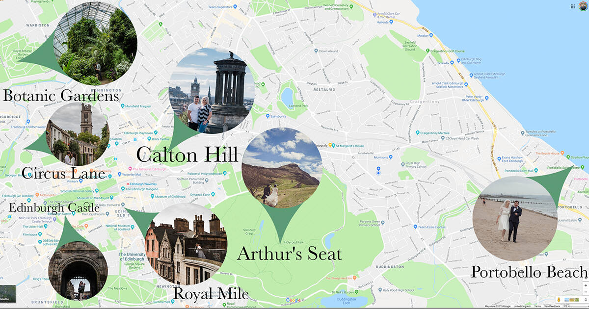 map of most romantic places in Edinburgh to propose