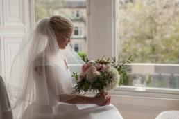 Edinburgh bride with flowers