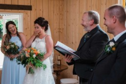funny wedding ceremony with bride and groom