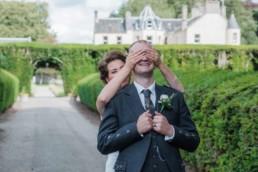 wedding couple having fun during photo session