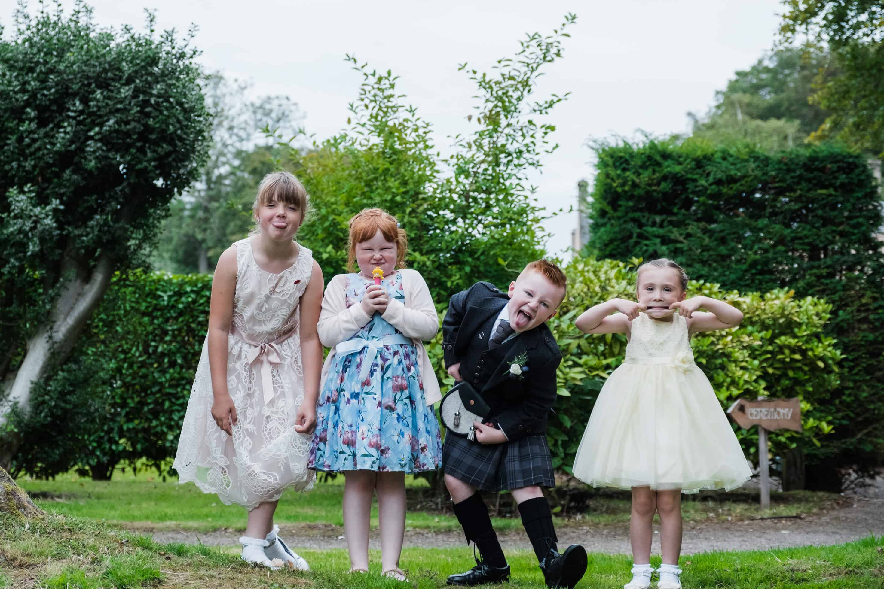 fun kids wedding photo in Edinburgh
