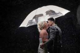 mansfield traquair wedding photo with couple under umbrella