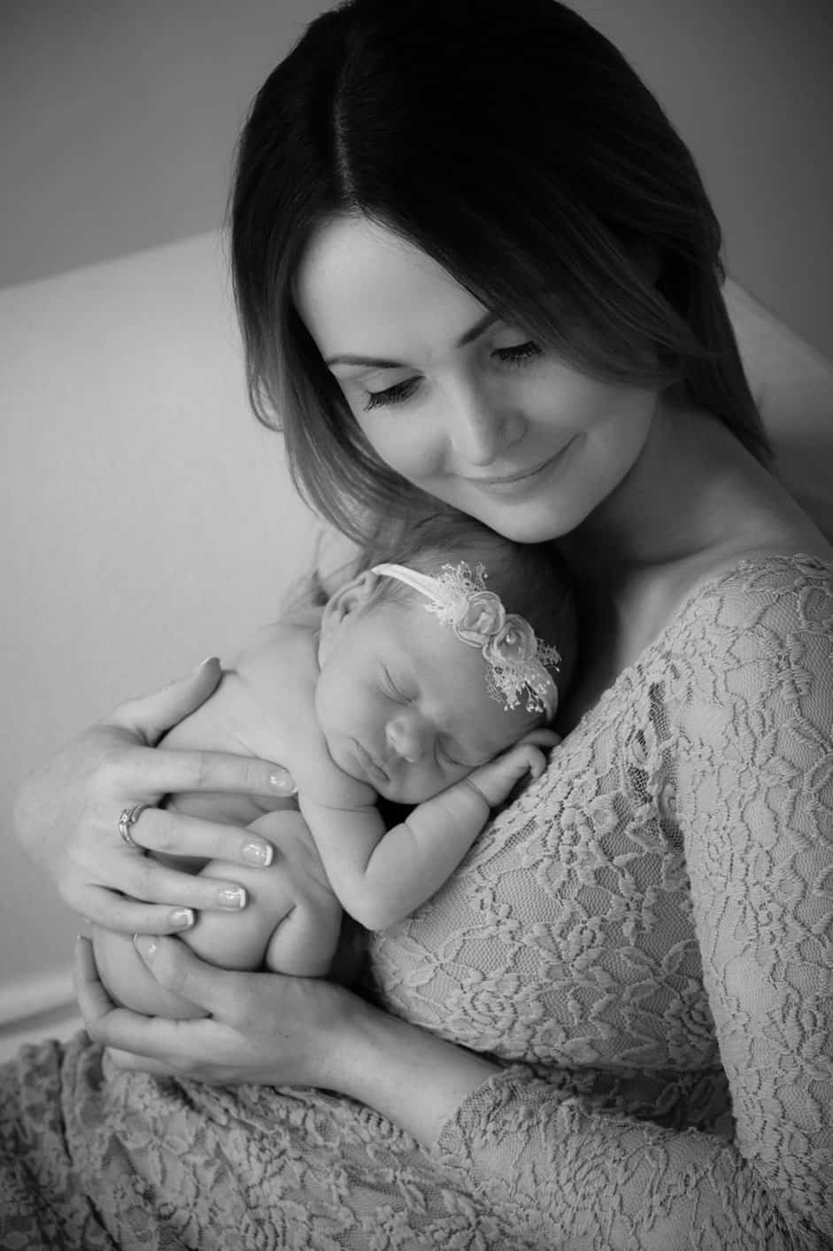 Mum and newborn during newborn photo session