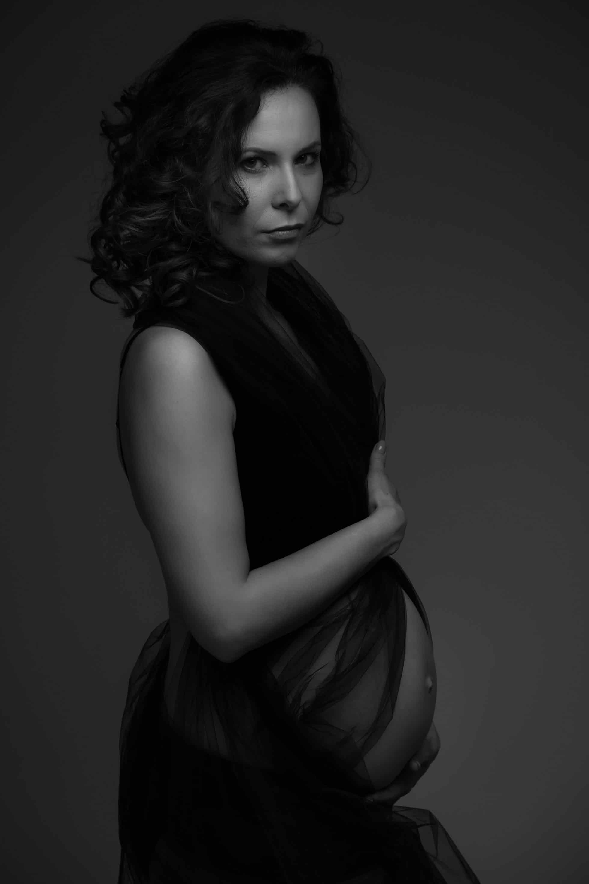 classic black and white moody maternity photo