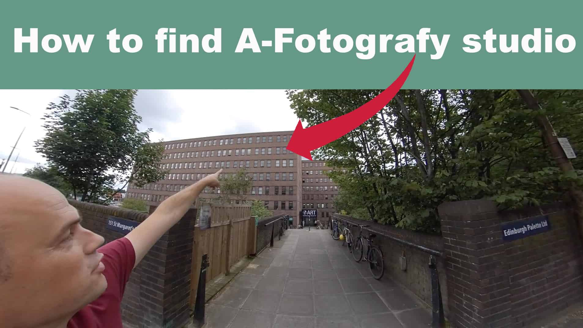 Directions on how to find Edinburgh photography studio