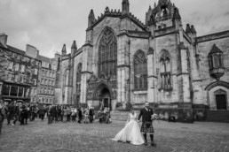 St Giles Cathedral Edinburgh wedding photography bride and groom