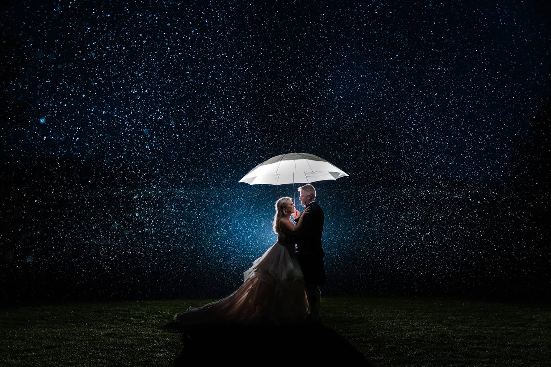 wedding photography in the rain with wedding couple