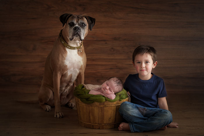 newborn with dog photos