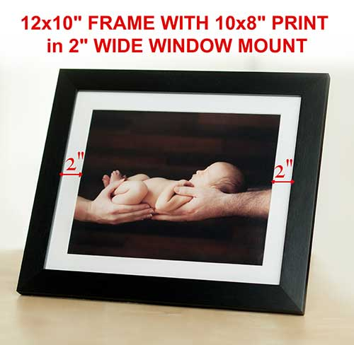 "Picture frame sizes in UK. Standard 12x10"" frame with mount"